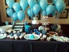 Baby boy shower. I like this balloon set up :)