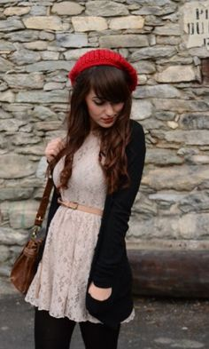 Love the lace dress and black cardigan pair
