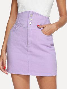 54887b433b Button Front Denim Skirt -SheIn(Sheinside) Button Front Denim Skirt, Denim  Mini