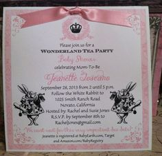 "Printed Alice in Wonderland Baby Shower, Birthday, Bridal Shower, Wedding Invitation - Size 6.25"" square with Envelopes"