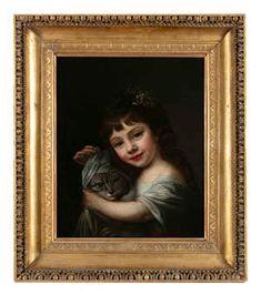 Lot-211 Plains Background, Large Eyes, Irish Traditions, Italian Renaissance, Oil On Canvas, Mona Lisa, Portrait, Artwork, British