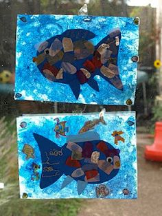 "Art Activity to go with the book ""The Rainbow Fish"" by Marcus Pfister"