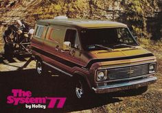 Customized 70's Chevy van in a Holley ad