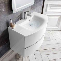 Bauhaus Svelte 80 Wall Hung Vanity Unit with Basin Basin Vanity Unit, Bathroom Vanity Units, Wall Mounted Vanity, Vanity Sink, Modern Bathroom, Bathroom Ideas, Family Bathroom, Bathroom Designs, Countertop Basin