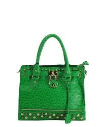 OSTRICH LEATHER HANDBAG PURSE LOCK ACCENT GREEN « Clothing Impulse
