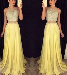 Two Pieces Custom Made A-Line Charming Prom Dress,Formal Dresses,Chiffon Evening Dresses,Beading prom dress