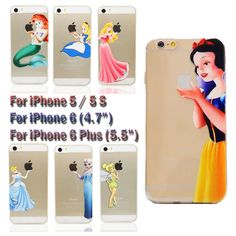 Ultra Thin Disney Princess Clear TPU Soft Rubber Case For iPhone 5S / 6 / 6 Plus in Cell Phones & Accessories | eBay