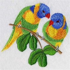 Looking for a good parrot pair embroidery design?