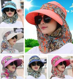 Details about Protective Hat Outdoor Sun Anti-UV Cap Neck Wide Brim Visor Sunhat  Scarf Bandana ccee0099a1fe