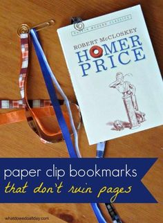 DIY paper clip ribbon bookmarks. >> Great add-on to make a book gift special.