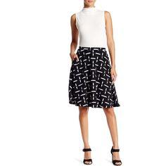 Bobeau Printed Flare Skirt ($25) ❤ liked on Polyvore featuring skirts, skater skirt, white knee length skirt, elastic waist circle skirt, white flared skirt and white skirt
