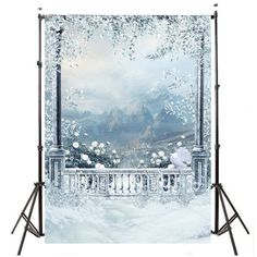 3x5ft Waterproof Outdoor Snow theme Vinyl Photography Backdrops Prop Photo Studio Background 90x150cm