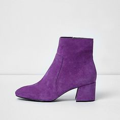 River Island Purple block heel suede ankle boots 706655 women Shoes / Boots Boots