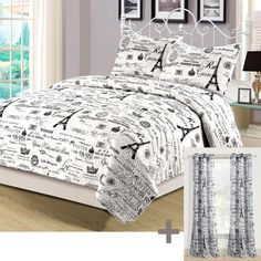 Beatrice Paris King Quilt Set with Matching Curtains 5 Piece Eiffel Tower Black and White – Quilt Sets – Bedding – Bed & Bath Paris Bedding, Paris Quilt, Girls Comforter Sets, Bedding Sets, Bedding And Curtain Sets, Bedroom Wallpaper Black And White, White Bedroom, White Bedding, Saris