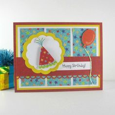 Birthday card, birthday party hat,  Happy Birthday card for kids, children, girl, boy, women, man, female, male