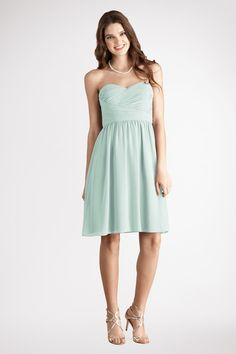 The ruched bodice is a flattering detail  on this  flowy sweetheart Beach Glass  chiffon  dress.