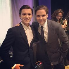 @TomHolland2013 (Spider-Man) and Daniel Brühl (Zemo) pose for a photo at the London premiere of Captain America: Civil War #TeamIronMan #TeamZemo