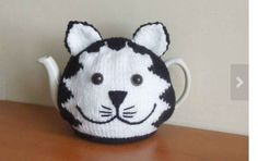white cat Hand made cat knitted tea cosy , mog, for your teapot. Postman Pat black and white cat Tea Cosy Knitting Pattern, Tea Cosy Pattern, Hand Knitting, Finger Knitting, Knitting Patterns, Gato Crochet, Crochet Geek, Form Crochet, Knitted Tea Cosies