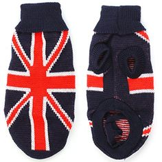 Pet Dog Yorkie Ribbed Cuff Red UK Flag Printed Sweater Navy Blue XXS -- Click image for more details.
