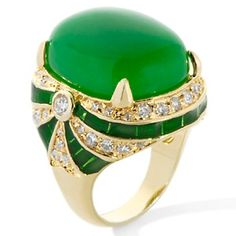 Rita Hayworth Collection Simulated Jade and Clear CZ Goldtone Oval Ring at HSN.com.