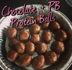 Chocolate Peanut Butter Protein Balls shared by victoriab_tiu! 2/3 cup natural peanut butter, 1/3 cup dark chocolate almond milk, 1/4 cup oats, and 1 scoop chocolate Perfect Fit Protein.