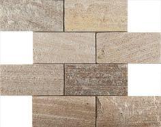 Emser Tile & Natural Stone: Ceramic and Porcelain Tiles, Mosaics, Glass Tiles, Natural Stone: New Arrivals: Slate, Quartzite & Sandstone Stacked Brick Pattern, Cream Gold Quartzite (flamed)