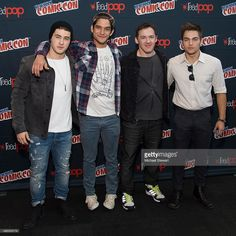 Cody Christian, Tyler Posey, Jeff Davis and Dylan Sprayberry pose in the press room for 'Teen Wolf' during New York Comic-Con Day 3 at The Jacob K. Javits Convention Center on October 10, 2015 in New York City.