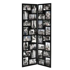 Furnistar Black Wood Hinged Folding Screen-Style Collage Picture Photo Frame 32 Openings. You have so many fond memories; shouldn't your walls showcase as many as possible?This frame lets you share 32 of your happiest moments with a fun arrangement of 4x6 portrait and landscape images divided between the two sides of a folding screen that stands almostfour feet high! How you fill the space is up to you. Black and white wedding memories or bursts of color from summer fun;The possibilities are…
