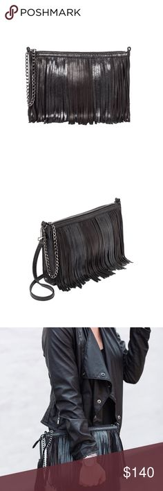 New Botkier Fringe Bag Imported leather.  Gunmetal hardware, top zip closure, and adjustable/detachable crossbody strap.  Exterior back slip pocket with magnetic snap closure.  Internal zip pocket and multi functional slip pockets.  Logo lining. Dust bag and extra zipper puller included.  MEASUREMENTS:   Height: 9 in  Length: 13 in  Depth: 1 in  Strap Drop: 22 in Botkier Bags Clutches & Wristlets