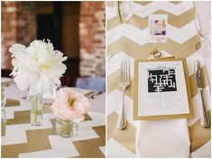 Intimate Sunday Brunch Wedding. Complete with a cross word table setting.