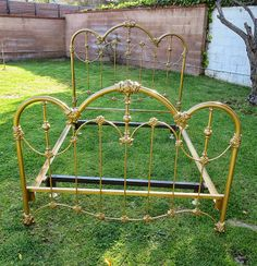 French Provincial Iron Bed in Gold Antique Iron Beds, Wrought Iron Beds, Full Bed Frame, King Bed Frame, Iron Headboard, Cast Iron Beds, Brass Bed, Cute Bedroom Ideas, French Provincial