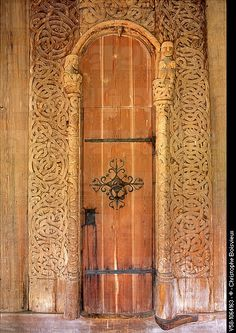 Norway, Telemark, Heddal Stave Church 13th C, Carved door.