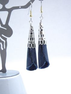 Denim Blue Leather Earrings, Rolled Leather Dangle Earrings, Hypoallergenic Ear Wires, Leather Jewelry  Handmade by Bumbleberry Jewelry by BumbleberryJewelry on Etsy