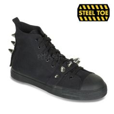 Canvas High Top Steel Toe Spiked Sneaker Shoe Black Canvas