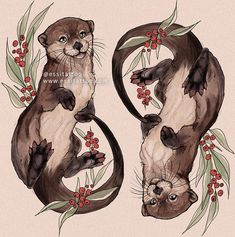 Otter art work tattoo idea. Even cuter would be them holing paws like they do. #tattoo #otters #ottertattoo #sealife #wildlife #cute #animaltattoo