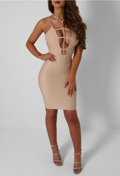 Check out this nude cage front mini dress! In a crepe fabric, this bodycon mini dress has cut outs to the front and looks gorge with heels. Leather Jumpsuit, Crepe Fabric, Get Dressed, Going Out, Bodycon Dress, Nude, Boutique, Mini, Sexy
