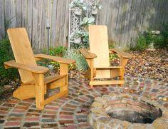 Westport Adirondack Chairs fire ring (refinsh mine)