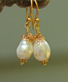 Teardrop Pearl Earring Gold Fringe Dangle Earring Amy by amyfine