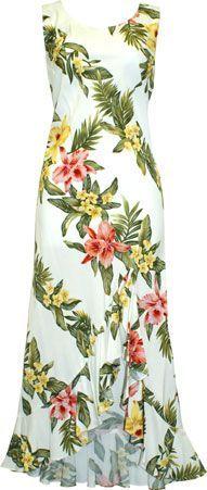 TP 910R [Orchid Panel/White] Mid-Length Dress - Wedding - Hawaiian Dresses | AlohaOutlet SelectShop