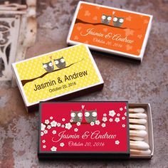 Strike a perfect match between practicality and style with these handy Owl Personalized Matchboxes—a simple and useful favor for your owl themed wedding celebration!