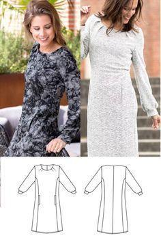 Kostenloses Schnittmuster für ein Jerseykleid für Damen ❤ Gr. 38 - 52 ❤ PDF zum Ausdrucken ❤ Freebook ✂ Jetzt Nähtalente.de besuchen ✂ - Free Sewing Pattern for a Womans-Jersey-Dress in Size 38 - 58