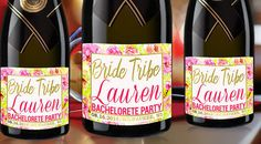 BRIDE TRIBE Mini Champagne Labels Bachelorette by LabelByLoveArts
