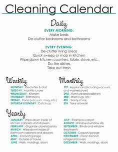 14 Clever Deep Cleaning Tips & Tricks Every Clean Freak Needs To Know House Cleaning Checklist, Clean House Schedule, Apartment Cleaning Schedule, Chore Checklist, Deep Cleaning Tips, Cleaning Hacks, Cleaning Routines, Spring Cleaning Schedules, Household Cleaning Schedule