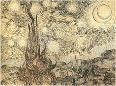 Starry Night, Vincent van Gogh, Drawing, pen and ink on paper  Saint-Rémy: June, 1889  Museum of Architecture  Moscow, Russia, Europe  F: 1540, JH: 1732