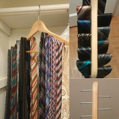 Diy Tie Rack.  Very simple and it cost me nothing. Made using a wooden hanger and nails. #tierack #mensfashion #budgetdiys