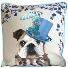 """FabFunky Milliner English Bulldog Pillow ~ 18"""" x 18"""" ~"""