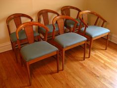 Fancy Mid Century Brown Polished Wooden Curved Back Dining Chairs Using Light Blue Upholstery Pads With Mid Century Modern Dining Chairs And Round Dining Tables of Affordable Mid Century Modern Wood Dining Table Products from Dining Room Ideas