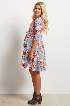 e3c9661998371 Blue Floral Print Sash Tie 3/4 Sleeve Wrap Dress Pink Blush Maternity,  Maternity