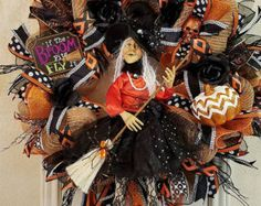 SALE> XL Halloween Witch Wreath, Deco Mesh Wreath, Witch Wreath, Fall Wreath,Halloween Deco Mesh Witch Wreath ,Halloween Wreath,Witch Decor,