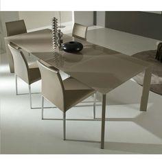 Tavolo in vetro satinato 130 e 160 cm allungabile, diverse finiture www.italianarredo.it
